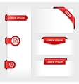 set of red 3d stickers tabs vector image