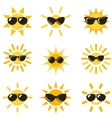 sun icons with black sunglasses vector image