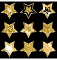 Golden Five Pointed Star Icon Set vector image