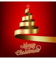 Christmas tree from gold ribbon and star EPS 10 vector image