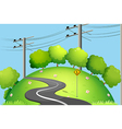 A long road at the top of the hill vector image vector image