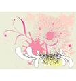 Grunge pink floral ornament vector image