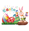 A bunny above the rock with Easter eggs vector image vector image