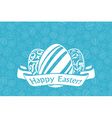 Easter Holiday Card with Eggs and Ribbon vector image