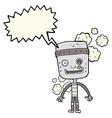 cartoon funny robot with speech bubble vector image