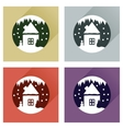 Set flat web icons with long shadow house snow vector image