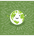 Happy Earth Day Poster Text around the Earth vector image vector image