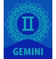 Gemini Twins Zodiac icon with mandala print vector image