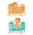 Set of babies are in their beds vector image