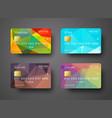 Set of templates of a credit debit bank card vector image