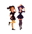 Two girls women in pointed hats witch halloween vector image