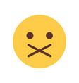 yellow cartoon face silent shocked emoji people vector image