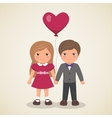 Couple in love with the ball in the shape heart vector image