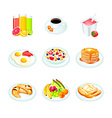 Breakfast icons vector image vector image