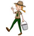 Female park ranger holding bucket vector image