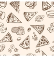 Seamless pattern with sliced italian pizza cheese vector image