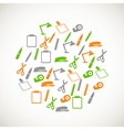 Colorful office supplie icons vector image