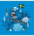 Cool pattern with swedish symbols vector image