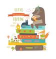 cute cartoon animals reading books vector image