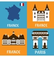 French landmarks and travel flat icons vector image