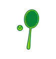 tennis racquet with ball sign lemon vector image
