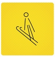 Ski jumping icon Skis extreme sport sign vector image