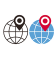 Globe and map pin icons vector image vector image