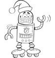 Cartoon robot wearing a Santa hat vector image