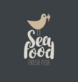 banner for seafood with a seagull and fish vector image