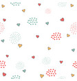 cute pattern with little hearts and dots on white vector image