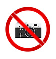 No photo camera prohibition sign vector image