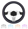 Realistic steering wheel and set of outline back vector image
