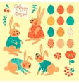 Set of elements for design Happy Easter vector image
