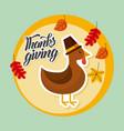 thanksgiving turkey autumn leaves banner vector image