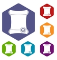 Paper scroll with wax seal icons set vector image
