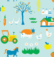 Agriculture seamless pattern with trees animals vector image
