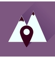 Flat icon with long shadow mountain location vector image