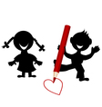 Background with children silhouettes drawing a vector image