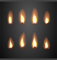 Burning candle flame animation frames vector image