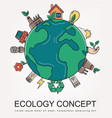 ecology and environment concept green planet with vector image