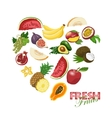 Isolated heart made of fresh fruits vector image