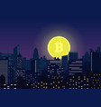 moon bitcoin symbol rising from modern vector image