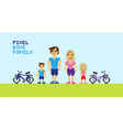 Pixel bike family vector image