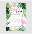 summer greeting card invitation wish list to do vector image