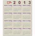 Colorful calendar for 2013 vector image vector image