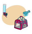 pet travel carrier bag feeding bowl and vector image