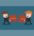 concept of teamwork jigsaw puzzle vector image