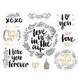 Valentines day lettering set vector image vector image