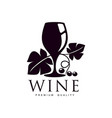 glass of wine decorated with grapevine icon vector image