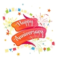 Happy anniversary festive ribbon vector image